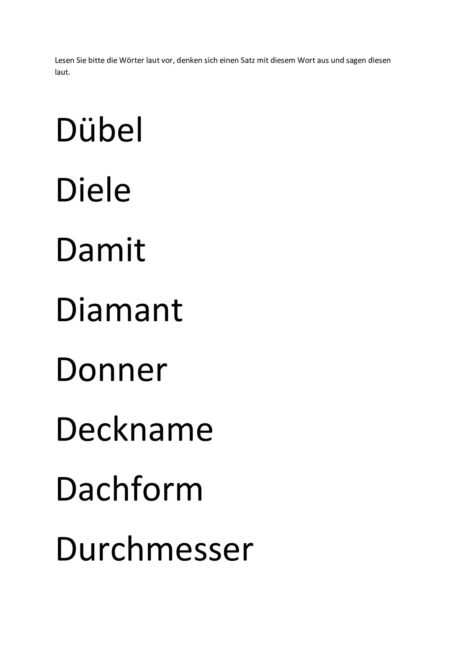 Wortliste d und t
