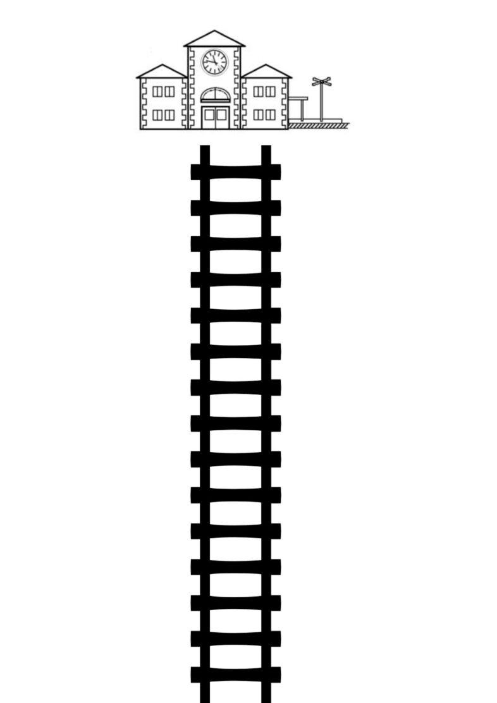 Schienen mit Bahnhof
