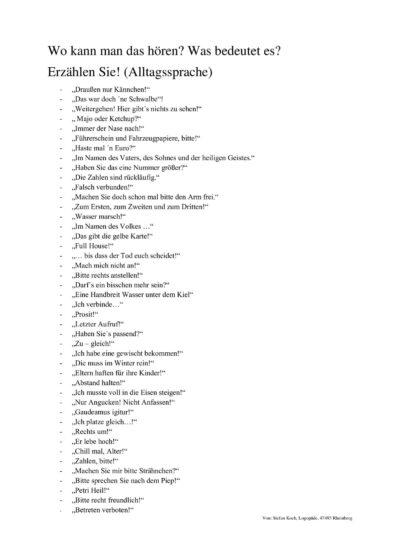 Alltagssprache – Erklären und Erzählen