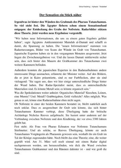 """Textarbeit """"Der Sensation ein Stück näher"""""""