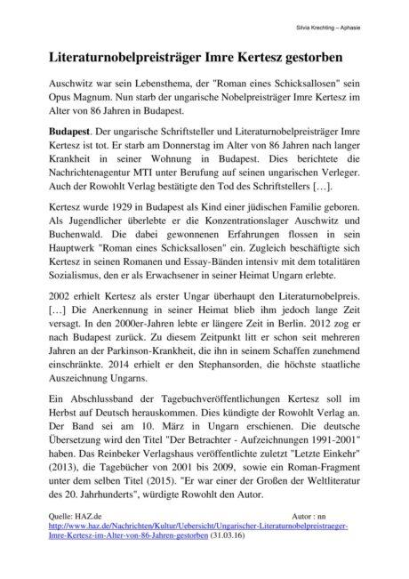 "Textarbeit ""Literaturnobelpreisträger Imre Kertesz gestorben"""