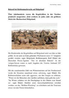 """Textarbeit """"Rekord bei Robbennachwuchs auf Helgoland"""""""