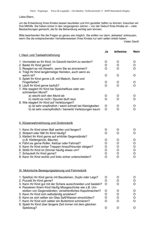 Elternfragebogen