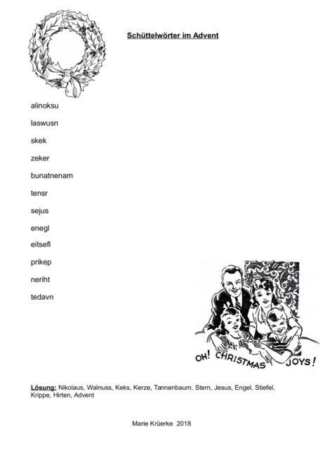 Schüttelwörter im Advent