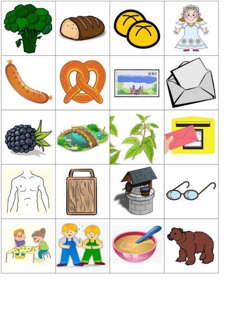 Bildkarten für die Konsonantenverbindung [br] initial
