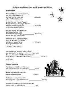 Weihnachtsgedichte zum Mitsprechen und Ergänzen von Reimen