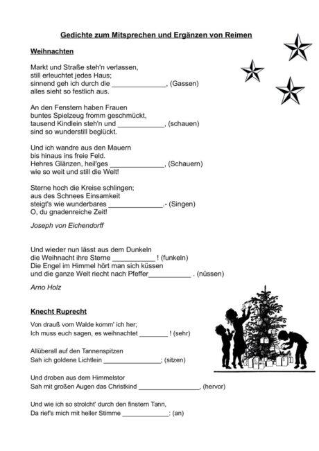 Weihnachtsgedichte Die Sich Reimen.Weihnachtsgedichte Zum Mitsprechen Und Ergänzen Von Reimen