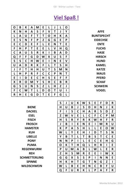 Wortsuche Tiere – Suchsel (Optische Differenzierung, Serialität)