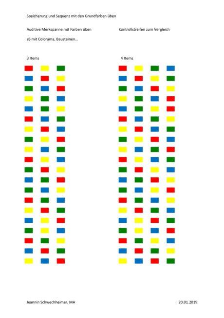 Auditive Merkspanne mit den Grundfarben üben