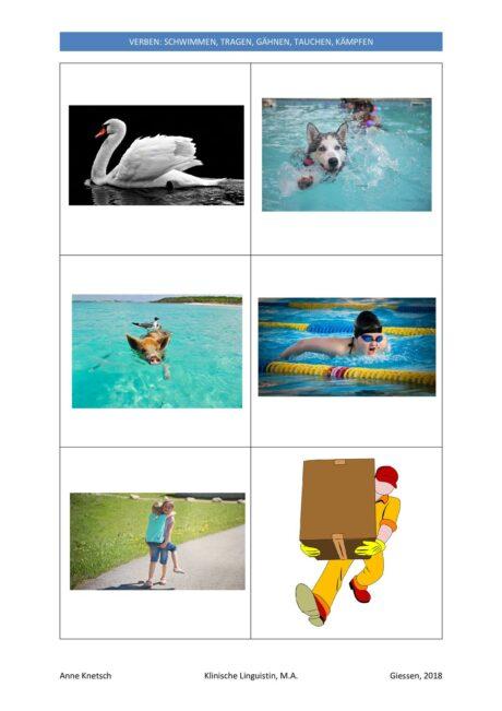 Verschiedene Bilder zu 6 Verben (2)