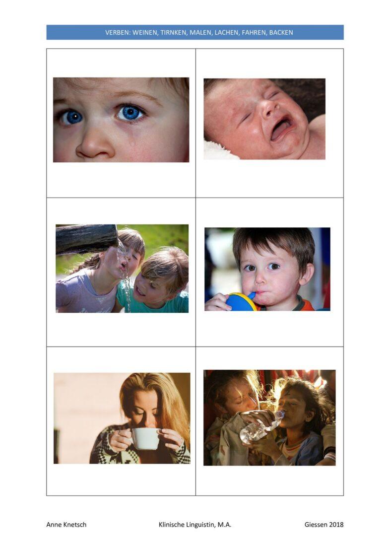 Verschiedene Bilder zu 6 Verben