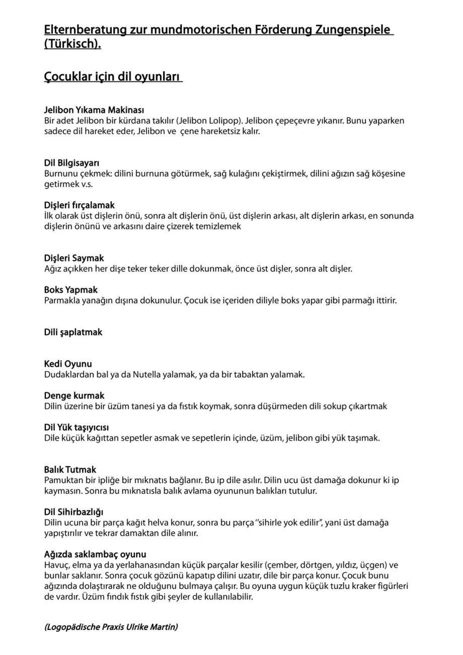 Übersetzung: Elternberatung zur Übungssammlung Zungenspiele auf Türkisch