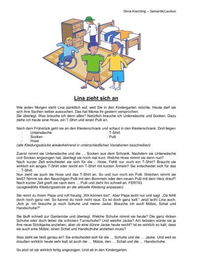 """Wortschatzarbeit Thema """"anziehen"""" (2)"""