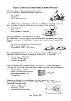 Aufgaben zum Sprachverständnis und für die auditive Merkspanne