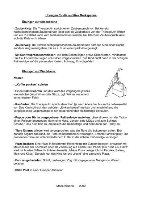 Sammlung von Übungen für die auditive Merkspanne