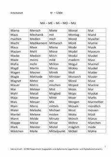 M Wortliste