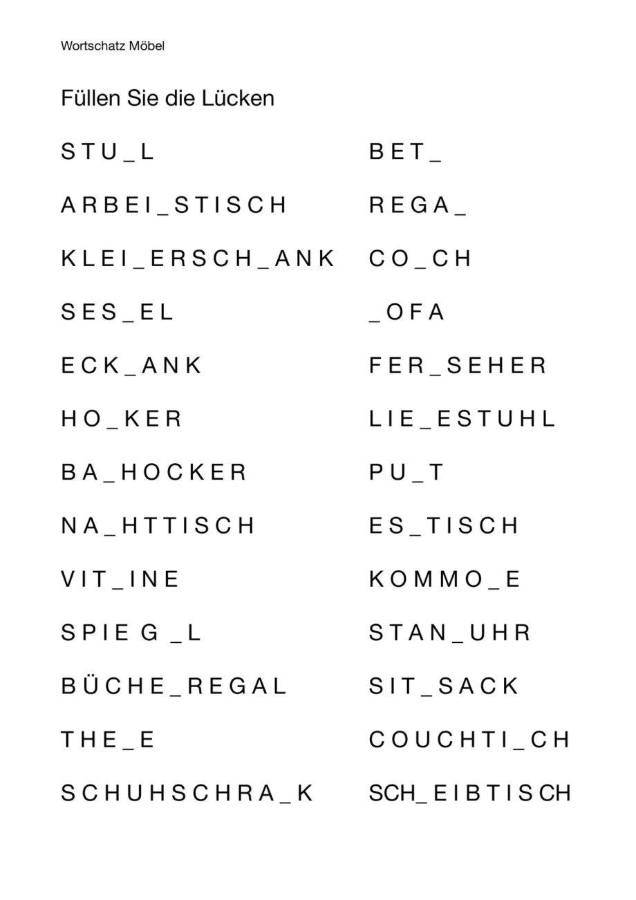 Lückenwörter Möbel