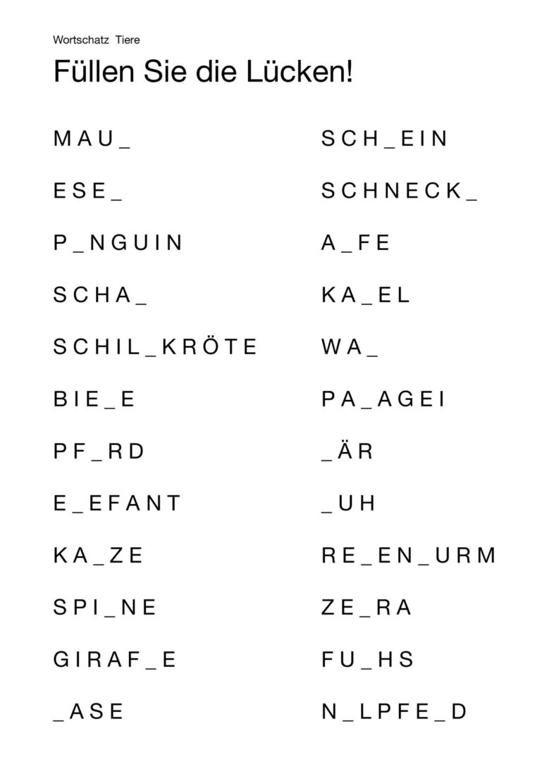 Lückenwörter Wortschatz Tiere