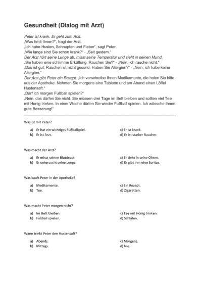 Lesesinnverständnis mit Text und Fragen