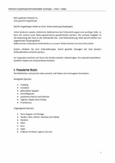 Patienten-Angehörigeninformationsblatt Dysphagie