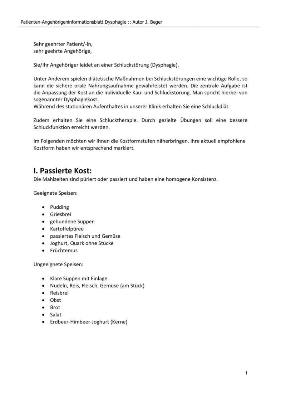 Patienten-Angehörigeninformationsblatt Dysphagie