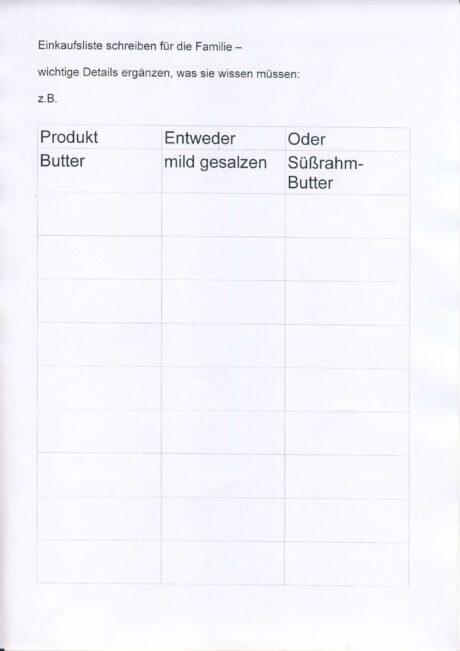 Einkaufsliste detailliert