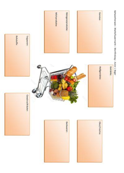 Arbeitsblatt zum Thema Markt/Supermarkt :: Wortfindung