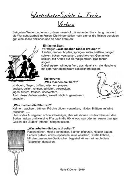 Wortschatz-Spiele im Freien: Verben