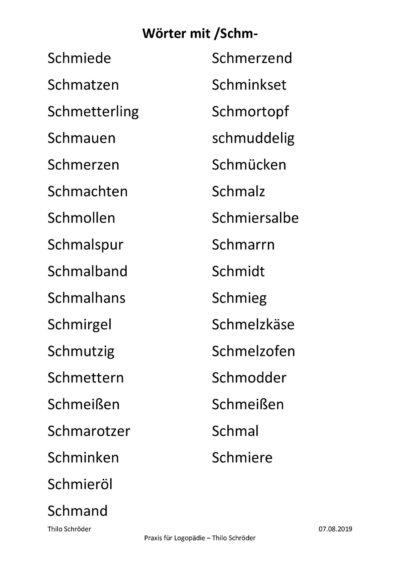 Wörter mit /Schm-