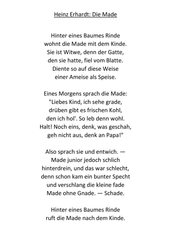 Die Made von Heinz Erhardt Arbeitsblätter