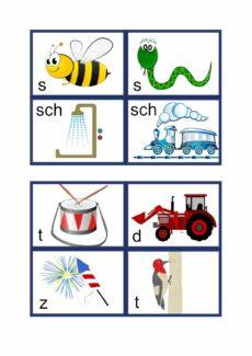 Lautsymbol-Karten Konsonanten mit Schrift