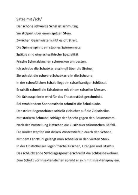 Sätze mit /sch/ (3)
