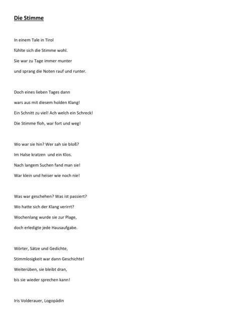 Gedicht zur Stimmtherapie