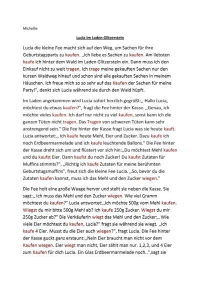 """Inputgeschichte """"Lucia im Laden Glitzerstein"""""""