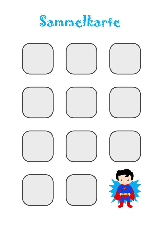 Sammelkarte für Stempel, Sticker oder Spielsteine (groß) – Junge
