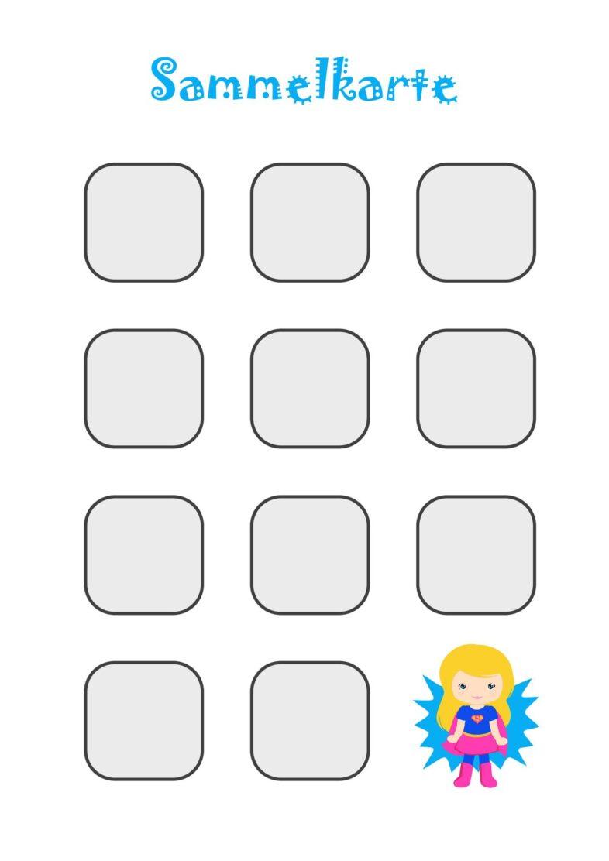 Sammelkarte für Stempel, Sticker oder Spielsteine (groß) – Mädchen