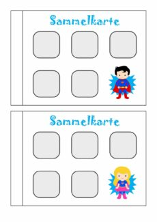 Sammelkarte für Stempel, Sticker oder Spielsteine (klein)