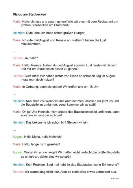Homographe Dysarthrie Dialog, Betonung/Prosodie für Gruppen (4 Personen)