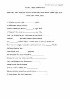 Kurzer/Langer Vokal Lückensätze (2)