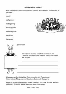 Schüttelwörter im April
