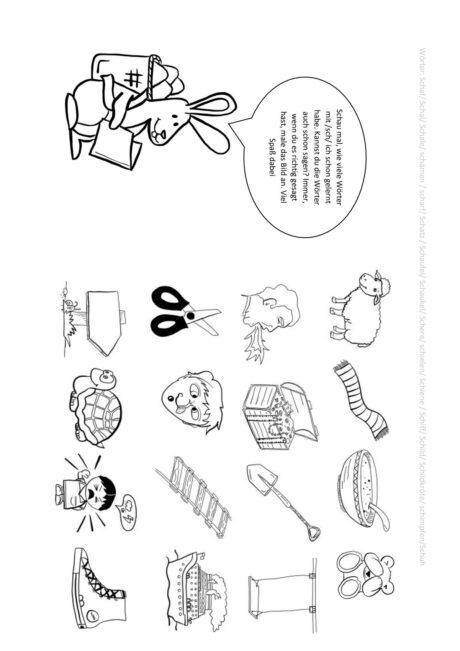 Osterhase lernt sch-Wörter
