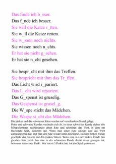 Pink-Schwarz – Auditive Differenzierung, lesen, schreiben- kurzes e/ kurzes i + nn/ng