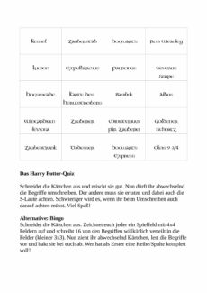 Harry Potter Quiz und Bingo