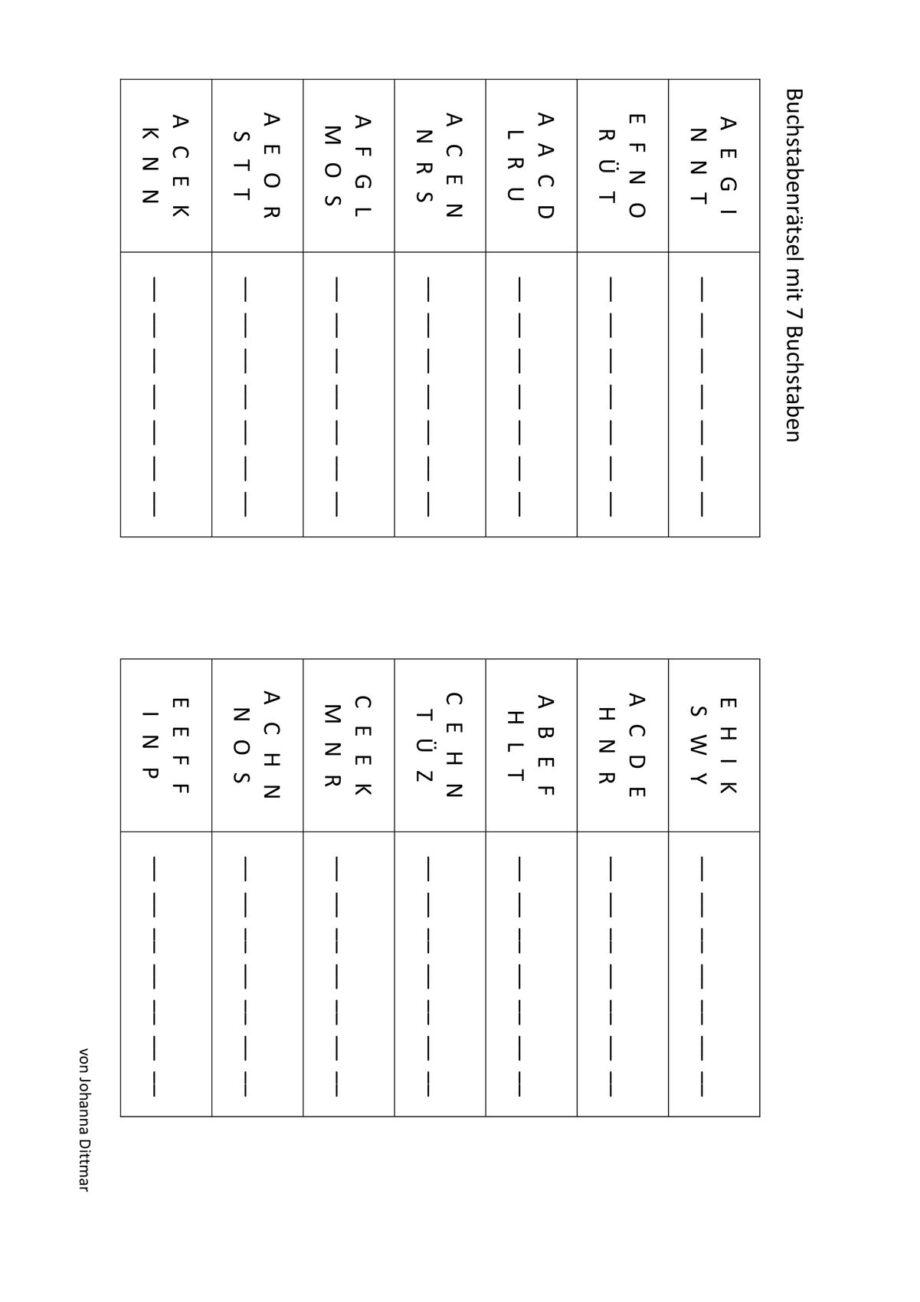 Buchstabengitter mit 7 Buchstaben