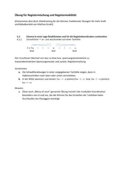 Übung für Registermischung und Registermobilität