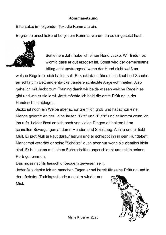 """Arbeitsblatt """"Kommasetzung"""" zum Thema """"Hundeerziehung"""""""