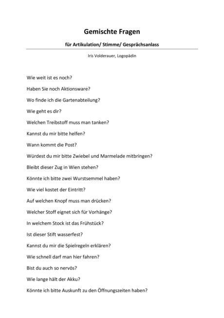 Gemischte Fragen zur Artikulation, Stimme, Gesprächsanlass