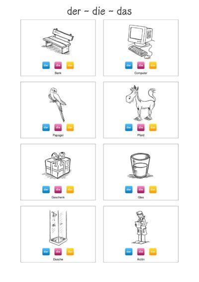 Bildkarten Genusmarkierung