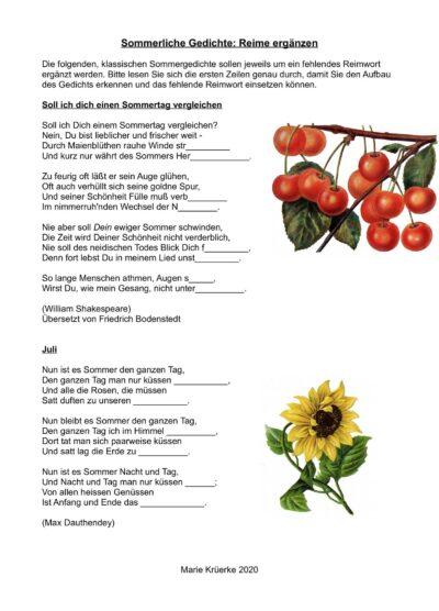 Sommerliche Gedichte mit Reimwort ergänzen
