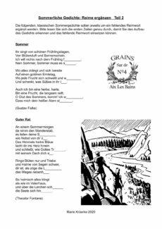 Sommerliche Gedichte mit Reimwort ergänzen, Teil 2